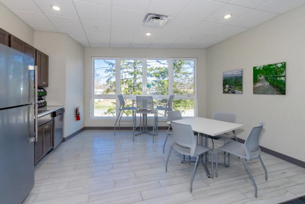 Take your lunch break in our bright break room