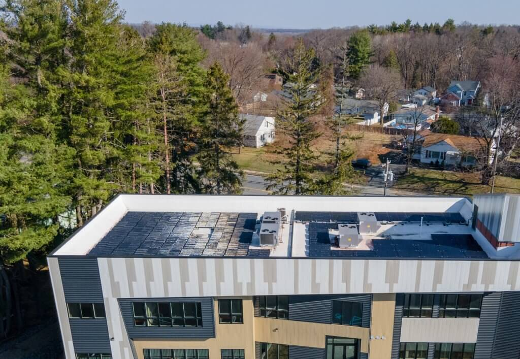 Check out the solar panels on the roof of Sunrise Solars Coworking