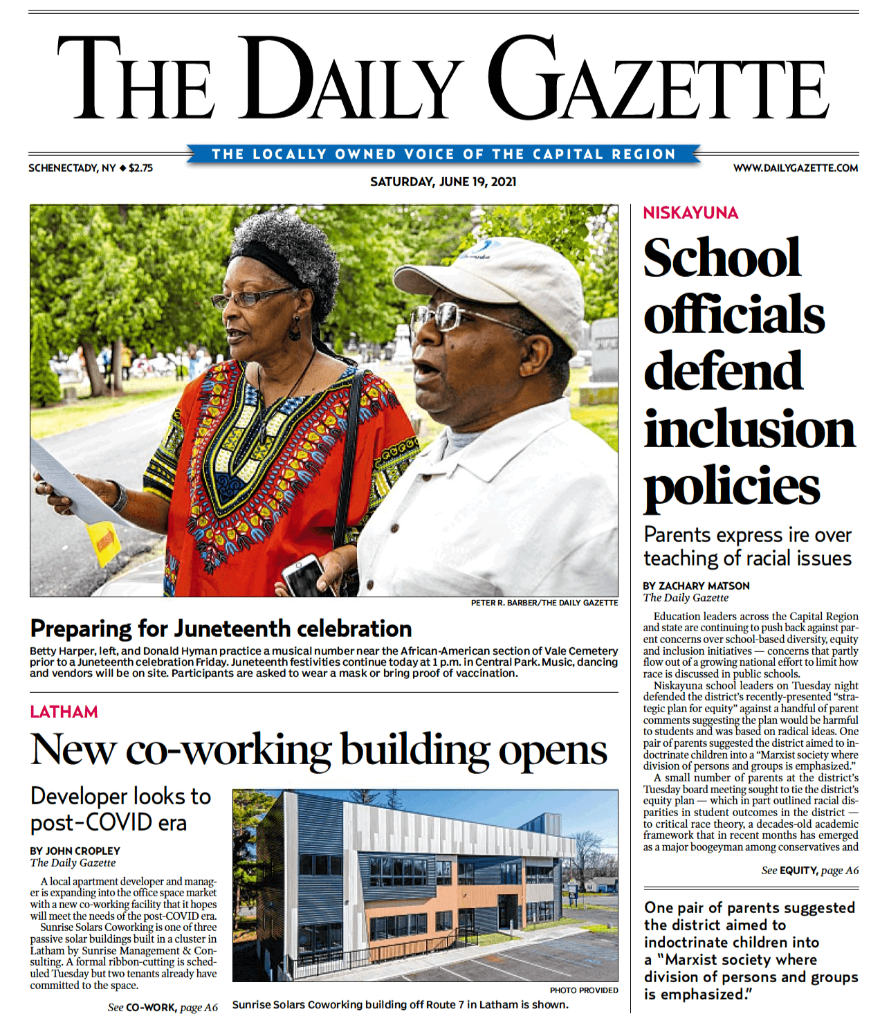 Sunrise Solars Coworking on the cover of the Daily Gazette