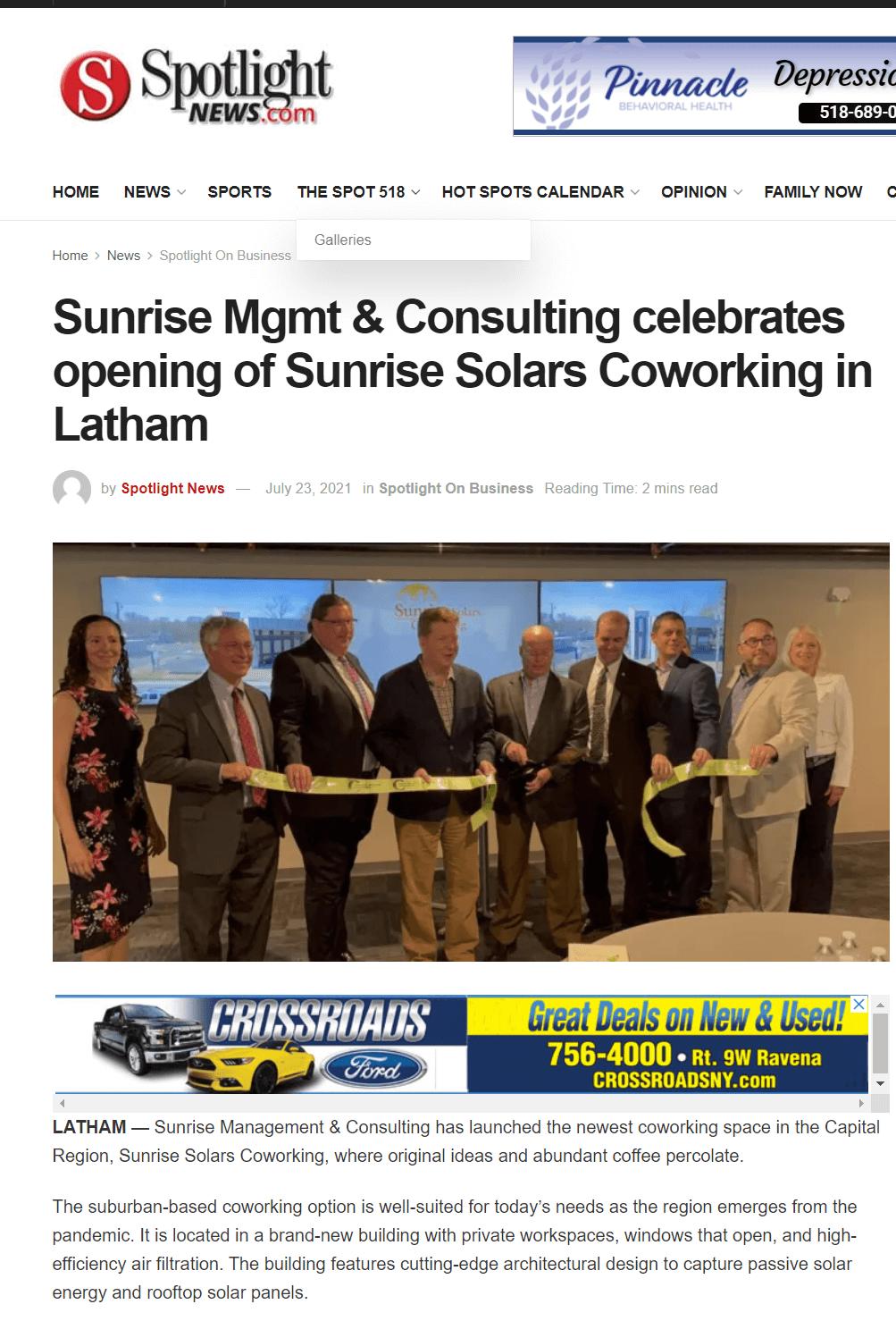 Spotlight Newspapers on Sunrise Solars Coworking
